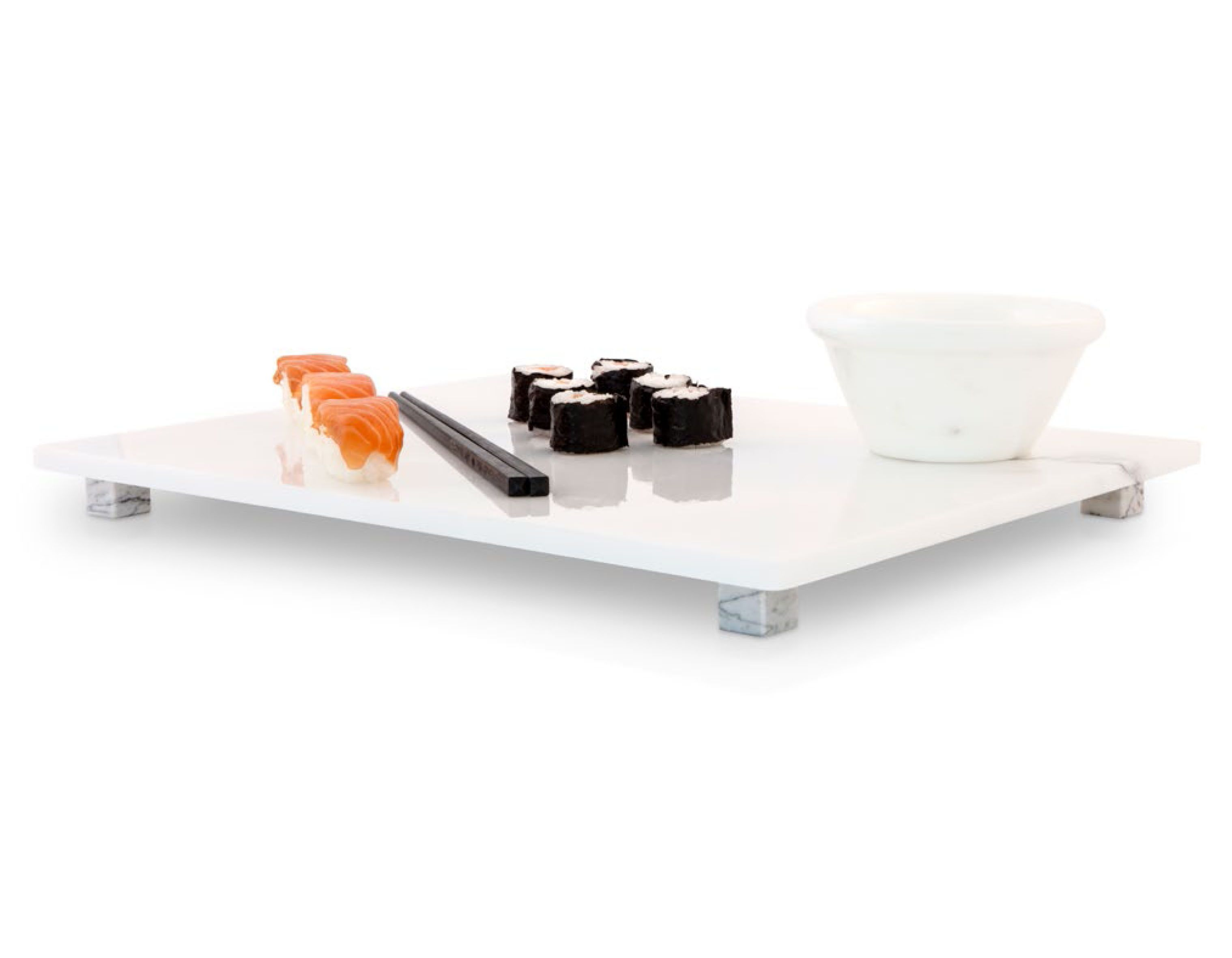 Kitchen Accessories White Marble Sushi Plate 40x30 Crockery Utensils Kitchen