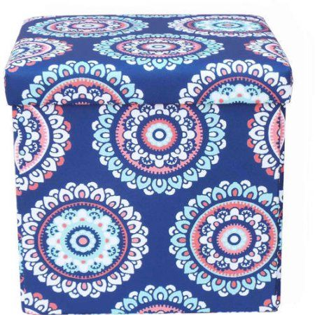 Mainstays Collapsible Storage Ottoman, Multiple Colors, Multicolor