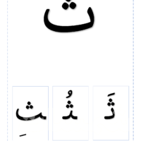 خط نسخ بطاقات الحرف ثاء مع اشكال الحرف وتشكيل خط نسخ Character Fictional Characters