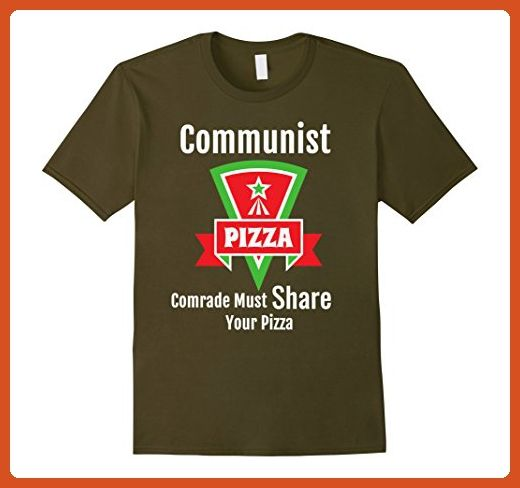 Mens Communist Pizza Must Share Funny Politics Retro Parody Shirt Large Olive - Retro shirts (*Partner-Link)