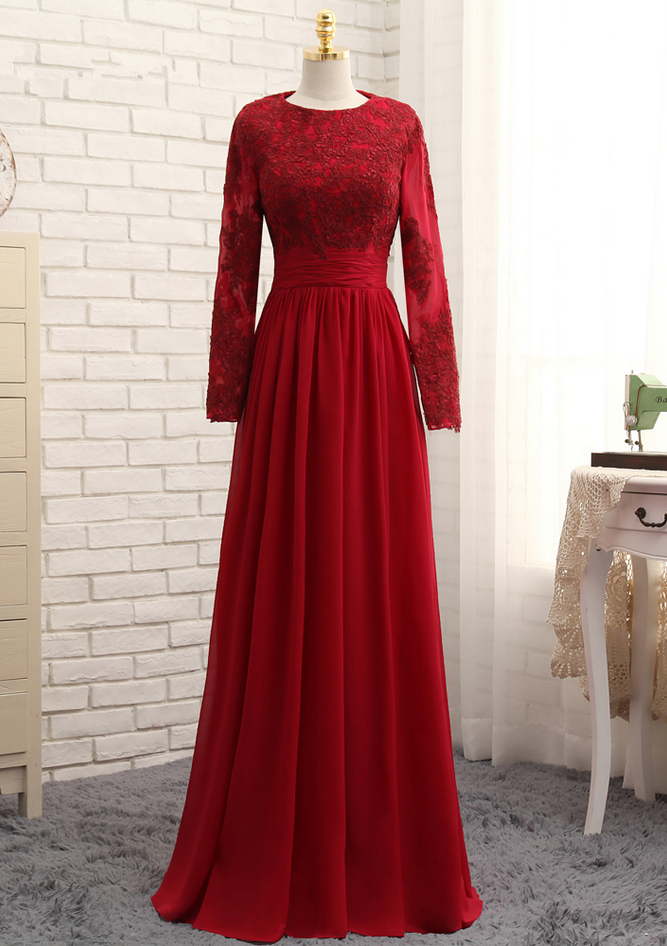 25cf0bd5491d0 Muslim Evening Dresses A-line Long Sleeves Red Appliques Lace Hijab ...