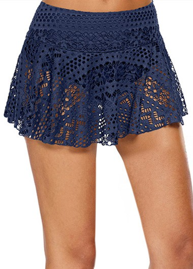 bf10600aa9 Women Crochet Lace Short Swim Skirt Navy Blue Mid Waist Laser Cut Swimwear  Pantskirt