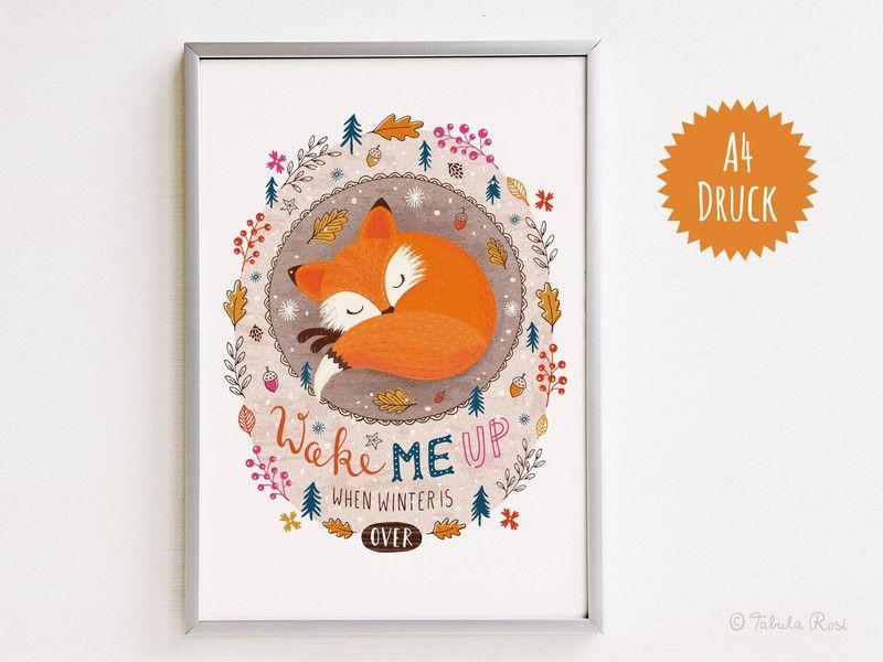 """Digitaldruck - """"Wake me up - Fuchs"""" - A4 Druck - ein Designerstück von TabulaRosi bei DaWanda"""