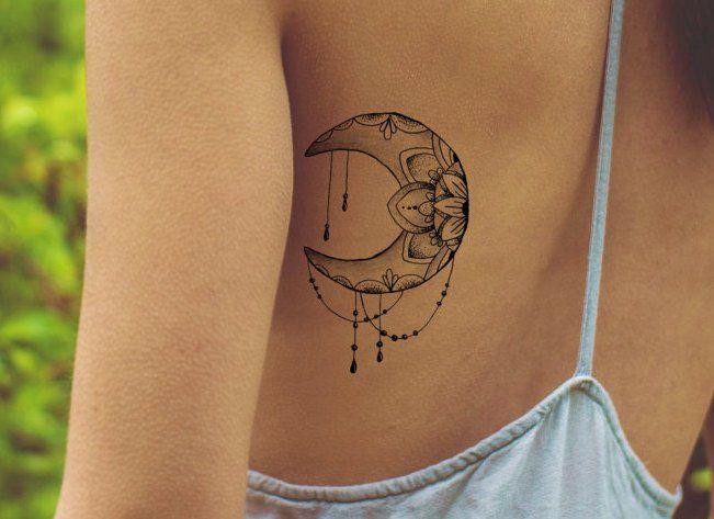 Tatuaggio di loto / falso tatuaggio femminile tatuaggio   Etsy