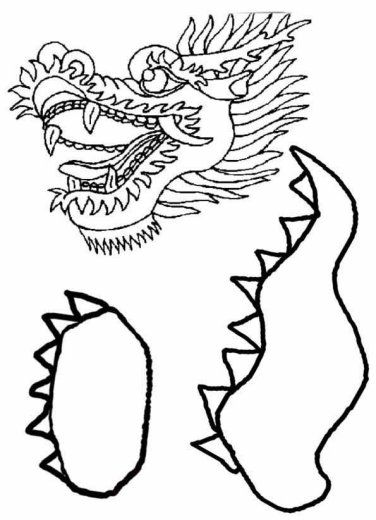 Chinese dragon puppet template print the body parts onto for Dragon cutout template