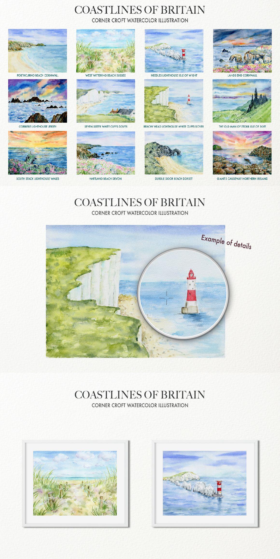 Coastlines Of Britain Watercolour Landscape Coastline