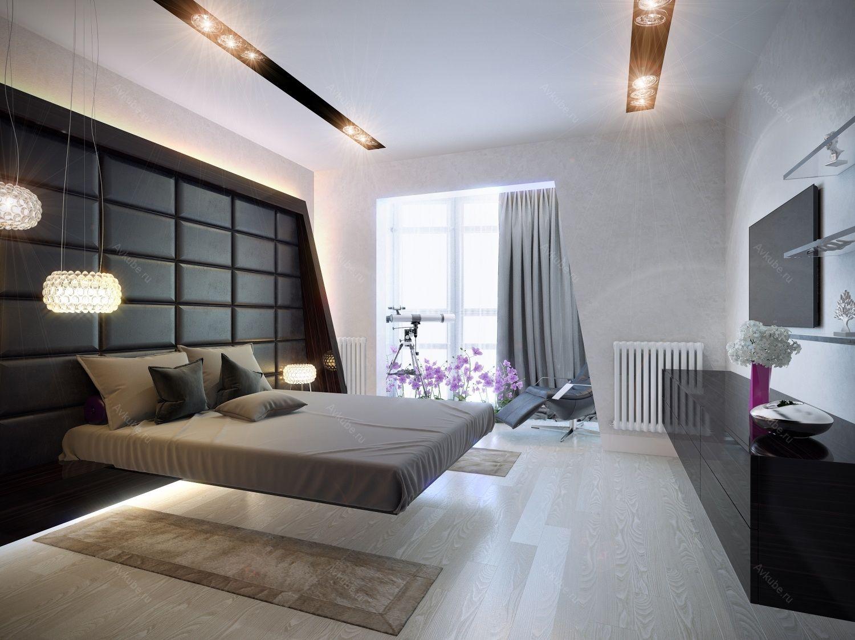 bedroom hitech Современные кровати, Интерьеры спальни