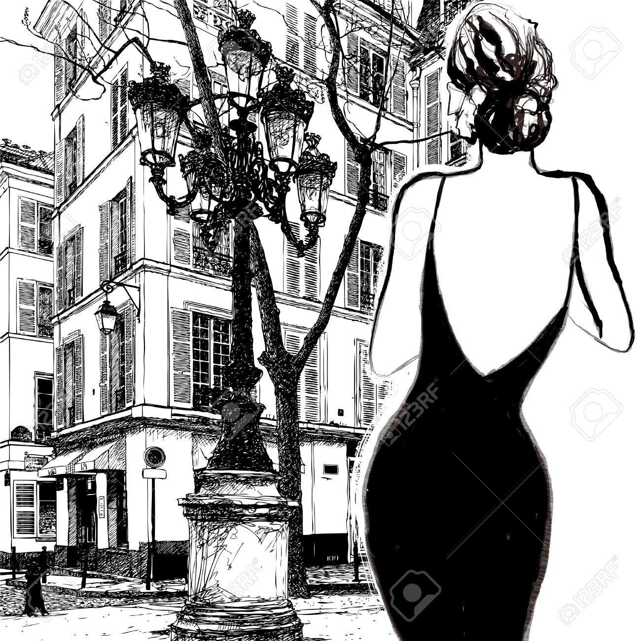 e56fecd4d09 Jeune Femme élégante Dans Une Robe Noire à Paris - Vector Illustration Clip  Art Libres De Droits