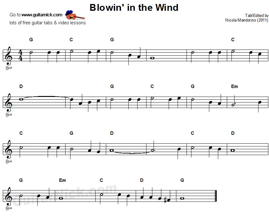 Blowin\' In The Wind - sheet music | Music in 2018 | Pinterest ...