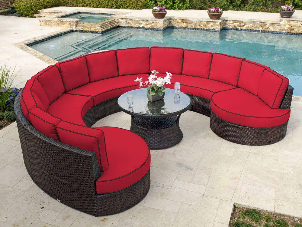 San Lucas 6 Pc. Aluminum U0026 Woven Resin Wicker Circular Seating Group With  42 Round