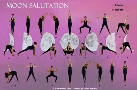 image result for moon salutation sequence  yoga moon
