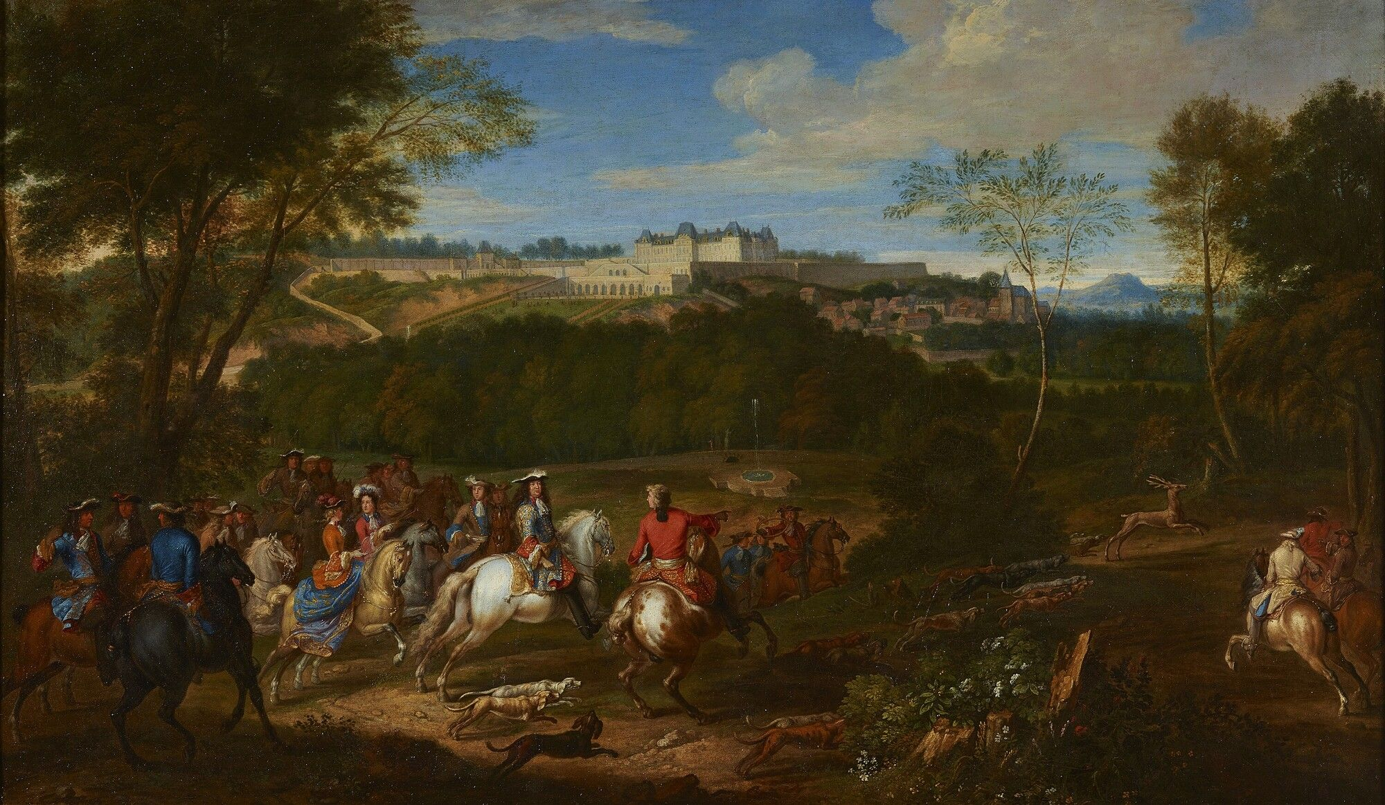 Adam Frans van der Meulen : Louis XIV and his Court hunting in view of the  castle of Meudon (Palace of Versailles) 1632-1690 アダム・フランス・ファン・デル・ミューレン