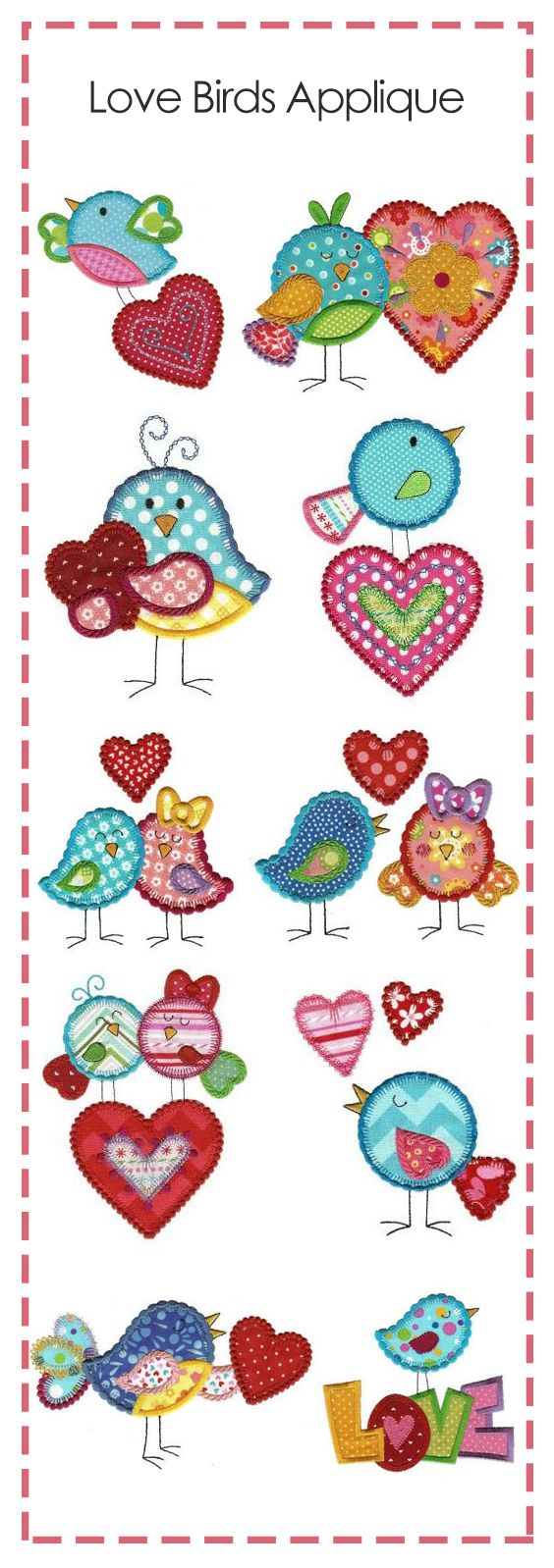 12 seriously sweet little love birds in applique for your Valentine's and spring projects!  #DesignsbyJuJu