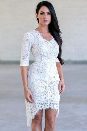 Ivory Lace Sheath Dress Party Cute Rehearsal Dinner