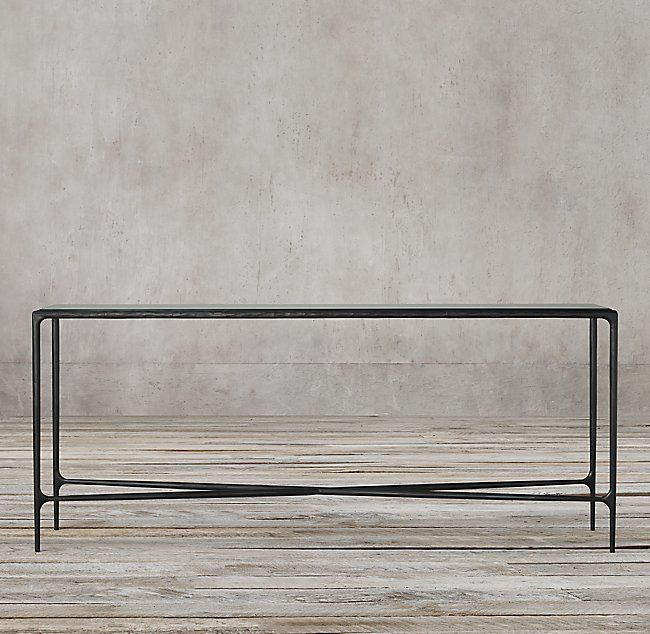 Thaddeus Glass Rectangular Console Table Iron Console