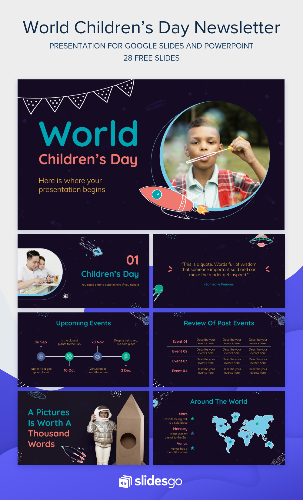 Download This Newsletter Template With World Children S Day As The Main Theme Free For Google Slides And Newsletter Templates Creating A Newsletter Child Day