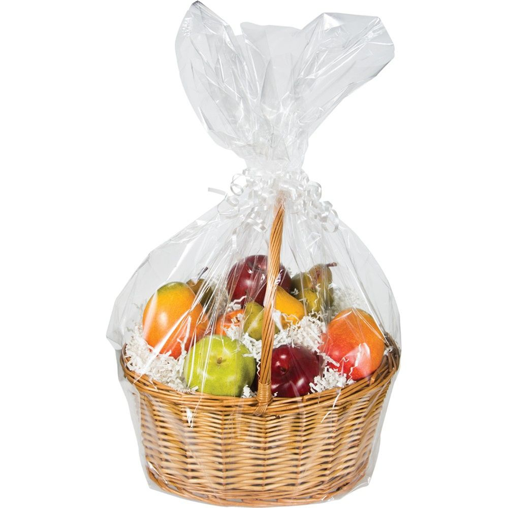 Clear Cello Basket Bag Large Case Of 12 Tags Bags