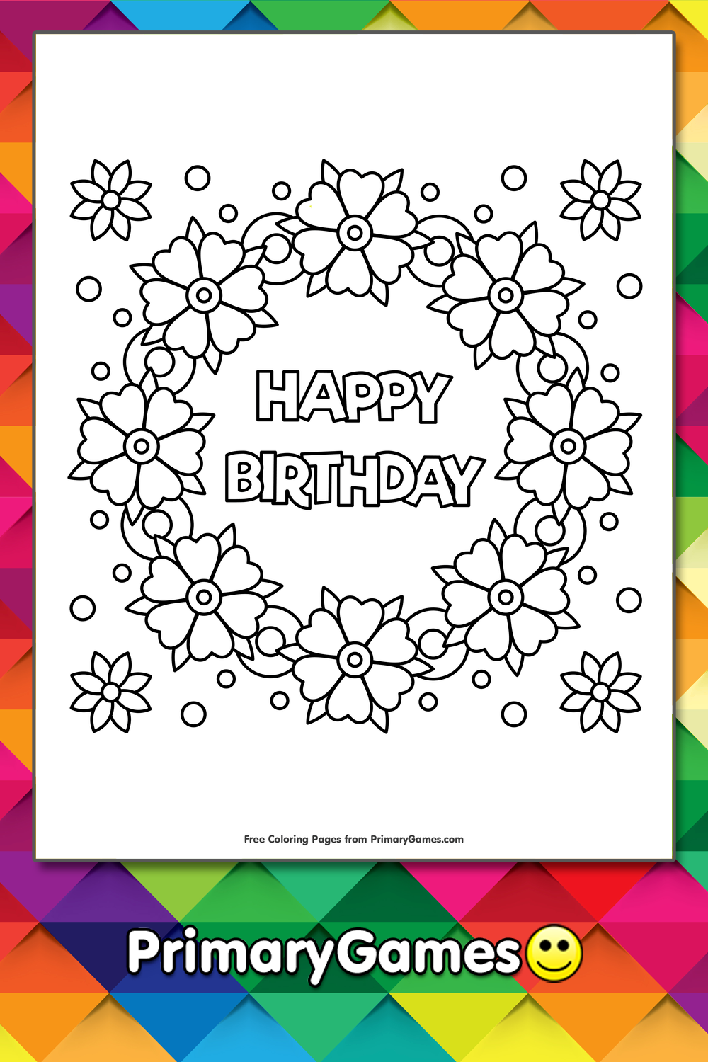 Happy Birthday Flower Wreath Coloring Page Free Printable Ebook In 2020 Birthday Coloring Pages Happy Birthday Coloring Pages Happy Birthday Flower