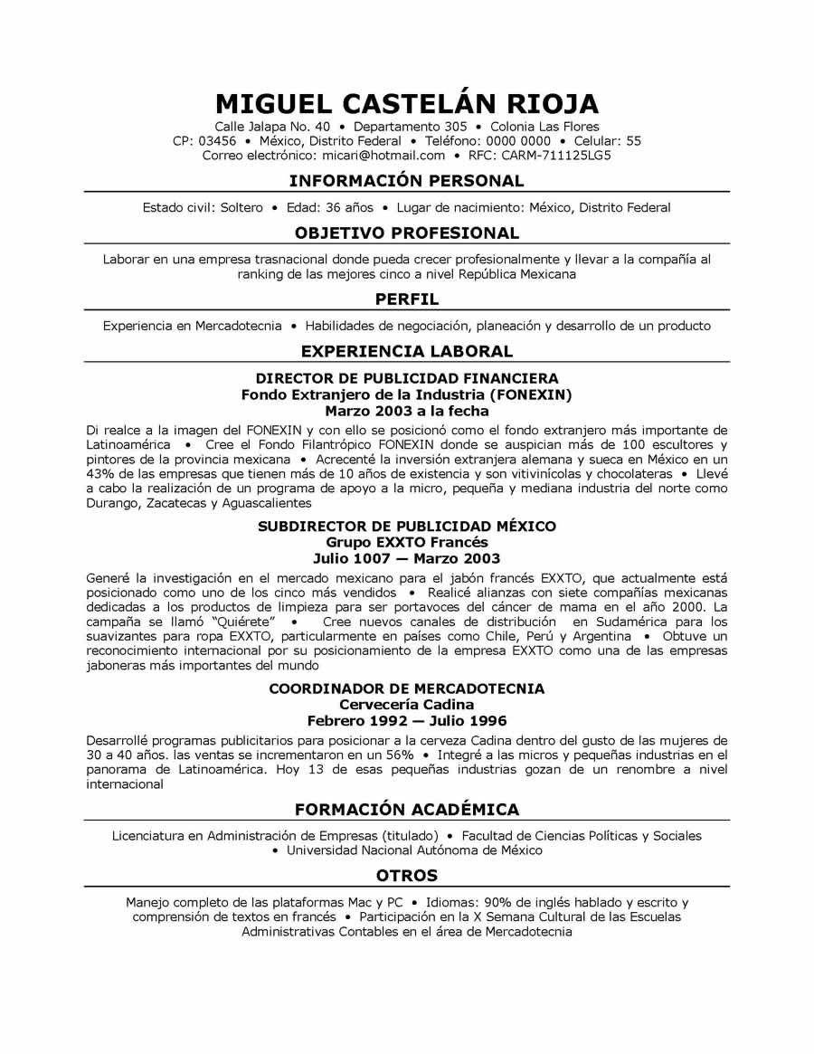 Resume Templates In Spanish Resumetemplates Resume Examples Professional Resume Examples Marketing Resume