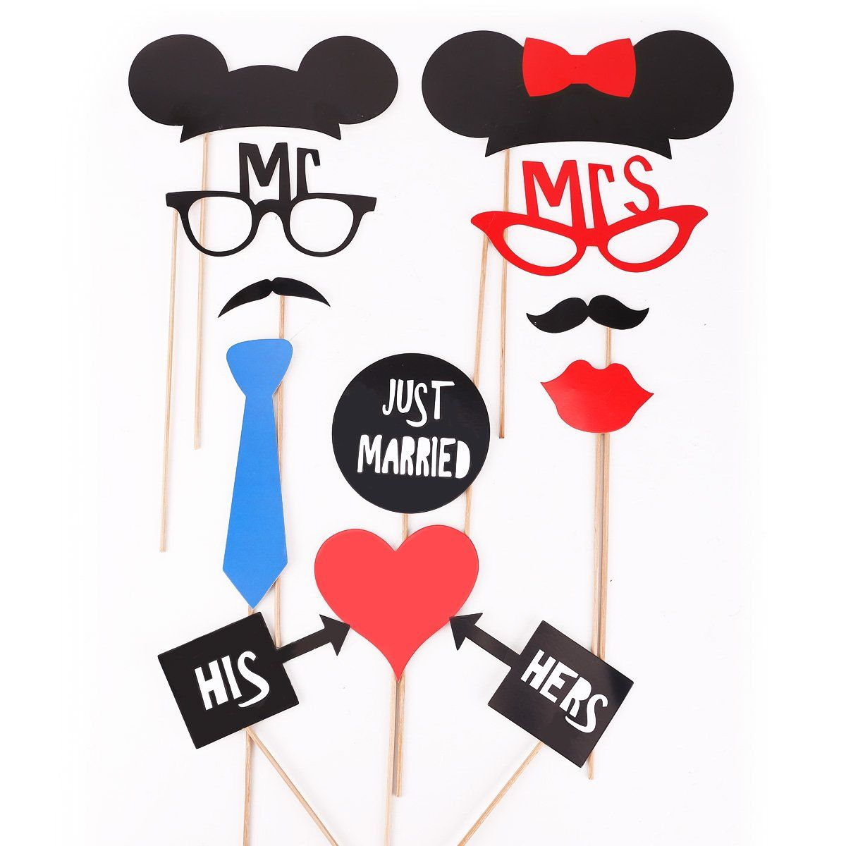 31pcs colorful props on a stick mustache photo