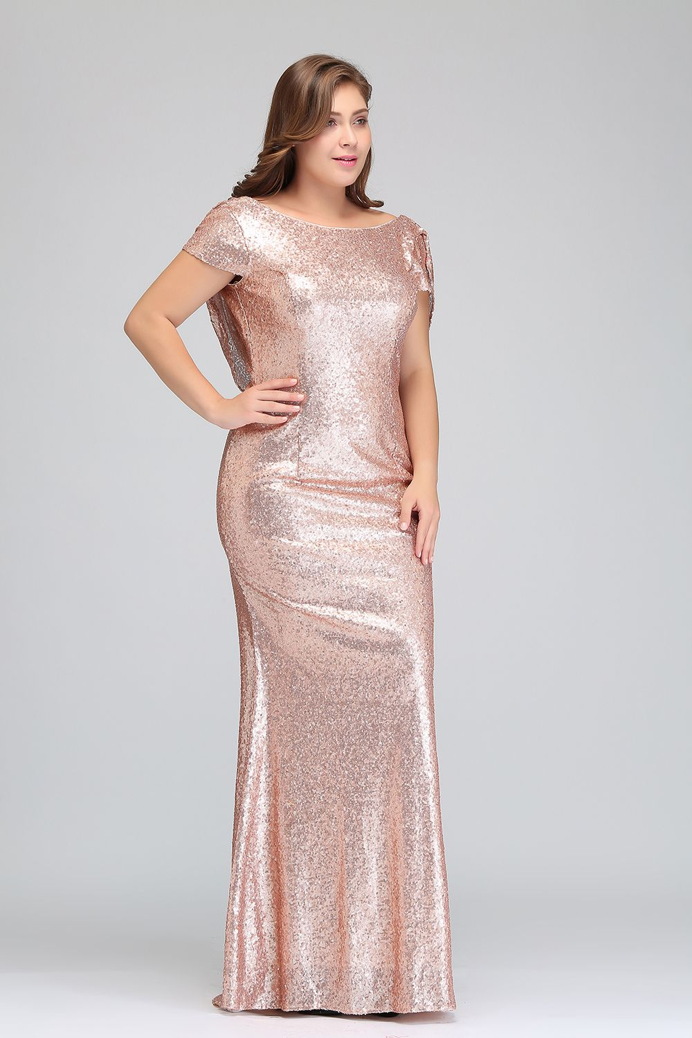 Pp89 Plus Size Rose Gold Sequin Evening Gowns Inexpensive Wedding Dresses Bridesmaid Dresses Plus Size Sequin Bridesmaid Dresses [ 1500 x 1000 Pixel ]