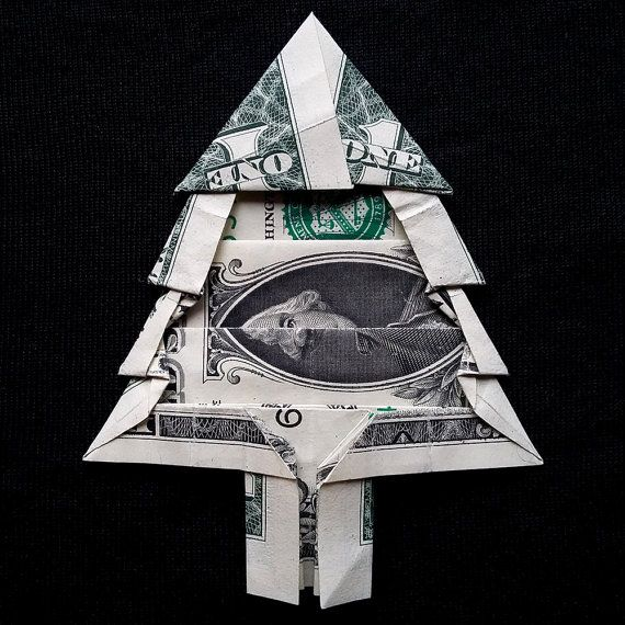 Dollar Bill Origami Christmas Tree: Real 1 Dollar Bill Origami Miniature Green CHRISTMAS TREE