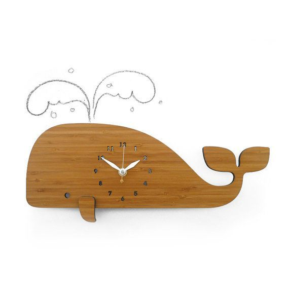 Modern Wall Clock, whale, bamboo, eco friendly