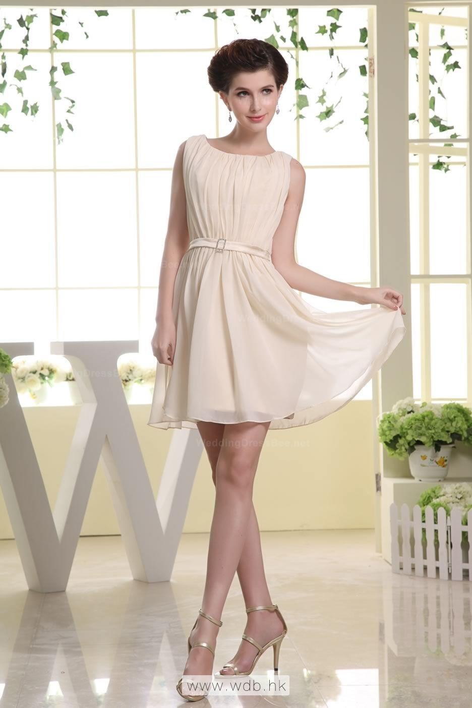 Fine scoop aline above knee chiffon dress with pleats