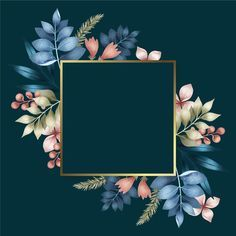 Download Square Golden Frame With Winter Flowers for free