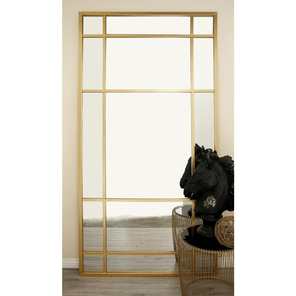 63dd7064bfb Litton Lane 80 in. x 40 in. Modern Wall Mirror with Gold-Framed ...