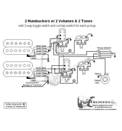 082ab21f175b8bf5cb929442040e030e 2 humbuckers 3 way toggle switch 2 volumes 2 tones individual coil humbucker coil tap wiring diagram at panicattacktreatment.co
