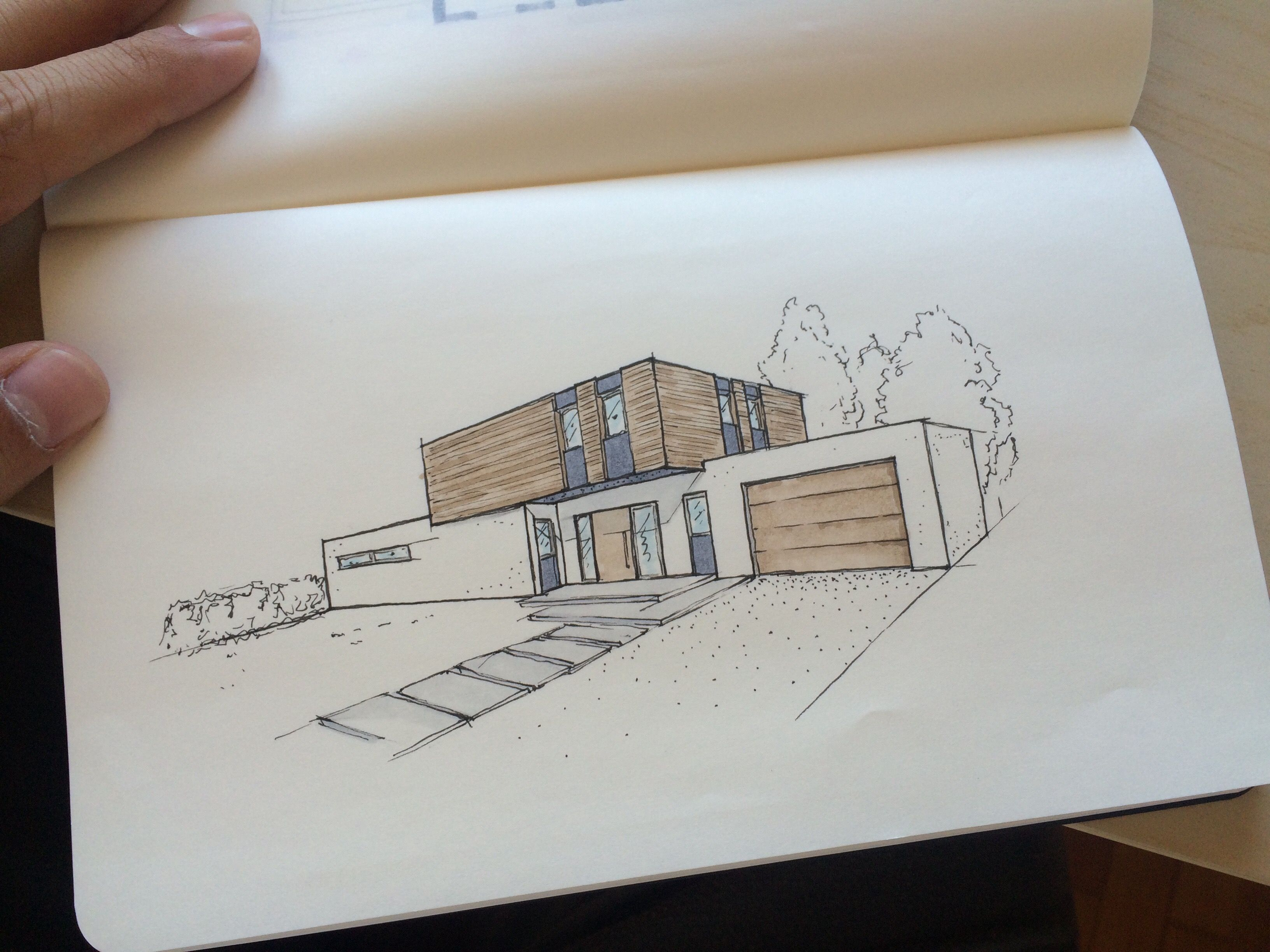 Design architektur architecture einfamilienhaus home house sketch skizze copic marker perspektive entwurf new dominic mimlich