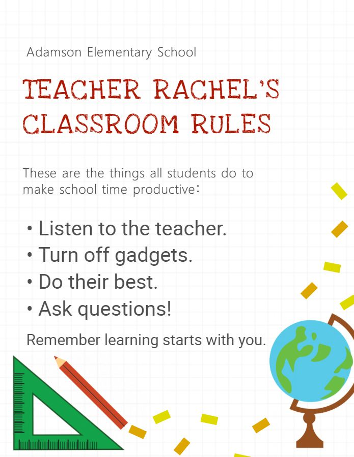 Elementary school editable and printable classroom rules poster - editable poster templates