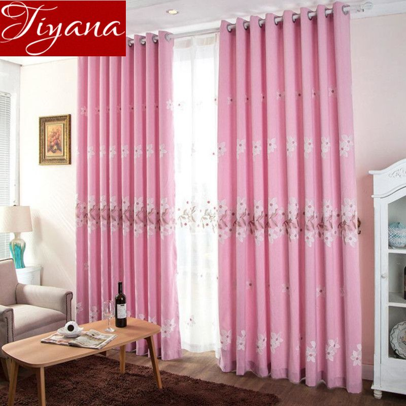 Flowers Curtains Kids Girls Room Pink Panel Curtains Embroidered ...