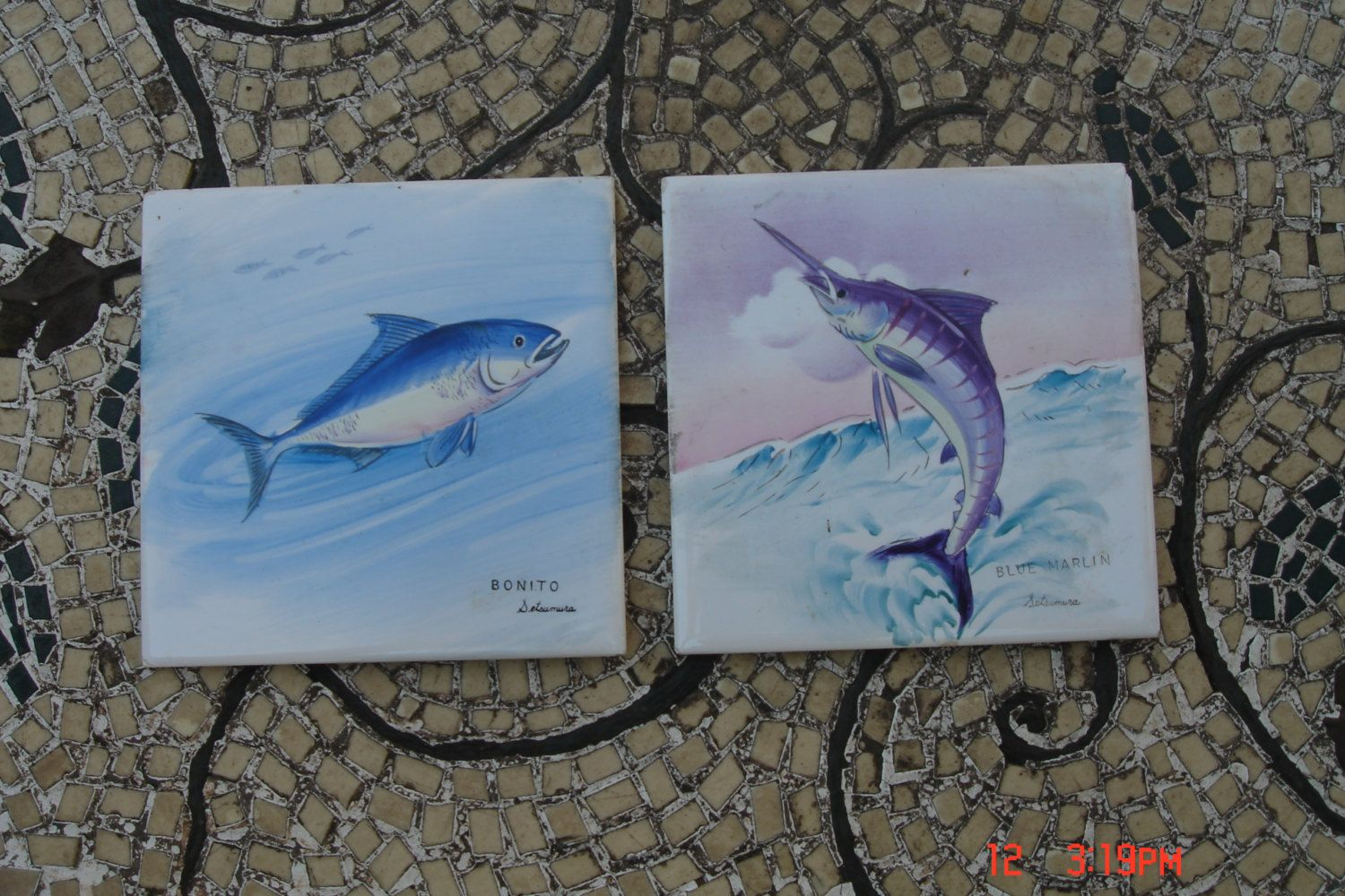 Vintage Hand Painted Fish On Ceramic Tiles Signed Setsumura Rare