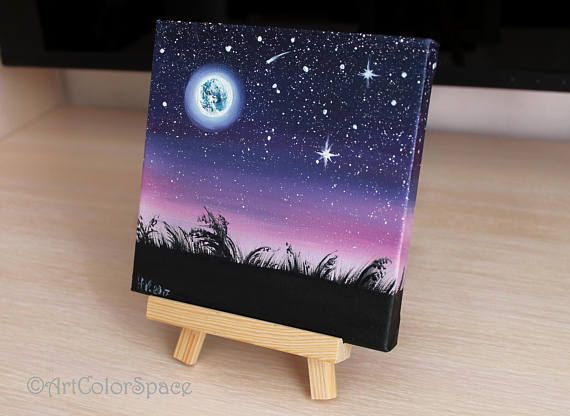 Night sky painting Starry sky Full moon Oil painting on canvas Moon painting Moonlight painting Space art