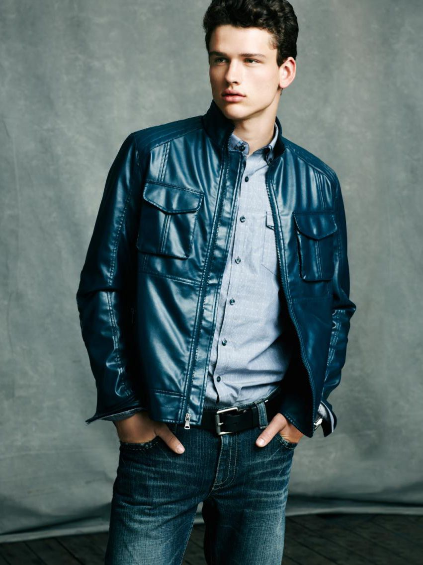 Blue dream faux leather jacket Leather jacket men, Mens