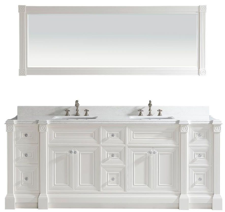 84 Inch White Finish Double Sink Bathroom Vanity Cabinet With Mirror With Images Bathroom Sink Vanity Bathroom Vanity Double Sink Bathroom Vanity