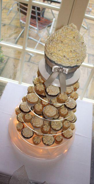 Ivory & Silver Sparkle Wedding Cupcake Tower   Wedding cupcake ...