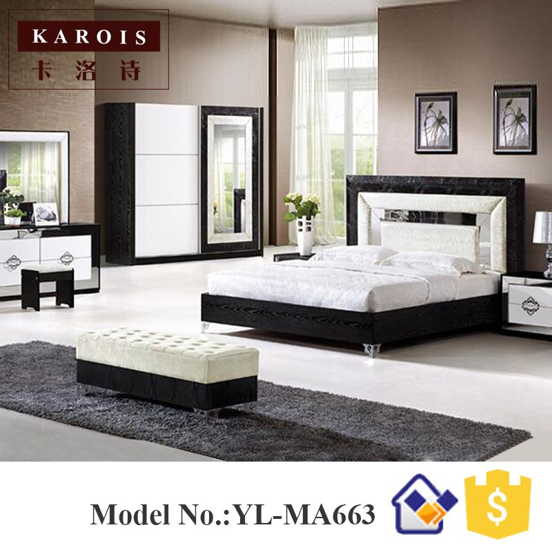 Pakistan furniture modern bed design black with white bedroom set   wardrobe  dresser  king. Pakistan furniture modern bed design black with white bedroom set
