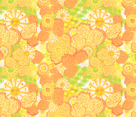 Profusion of Roses in Yellows fabric by bloomingwyldeiris on Spoonflower - custom fabric