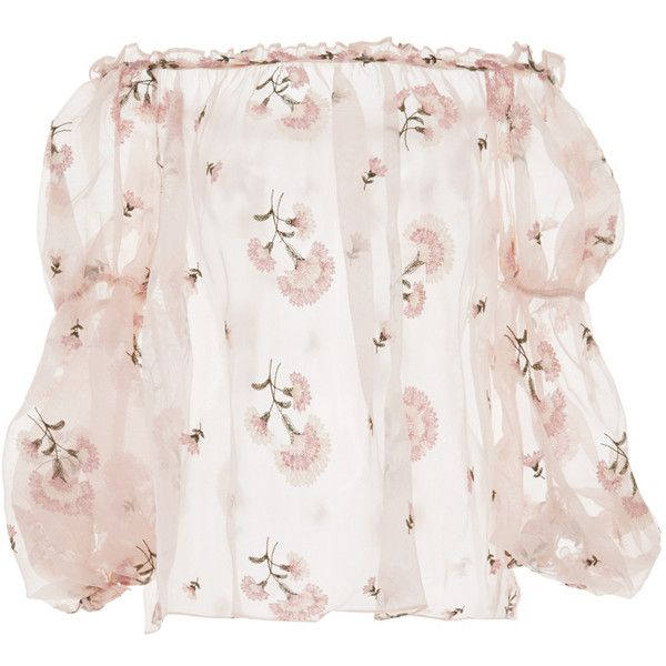 a1e24ae6696 Luisa Beccaria Off-The-Shoulder Pink Blouse ($1,368) ❤ liked on Polyvore  featuring tops, blouses, luisa beccaria, shirts, off the shoulder tops, light  pink ...