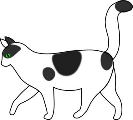 White Cat Walking Clip Art Vector Clip Art Free Vector For Free Download Free Cats Free Clip Art White And Black Cat