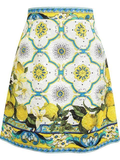 Dolce  Gabbana Geometric Print Textured Cotton Skirt - Browns - Farfetch.com