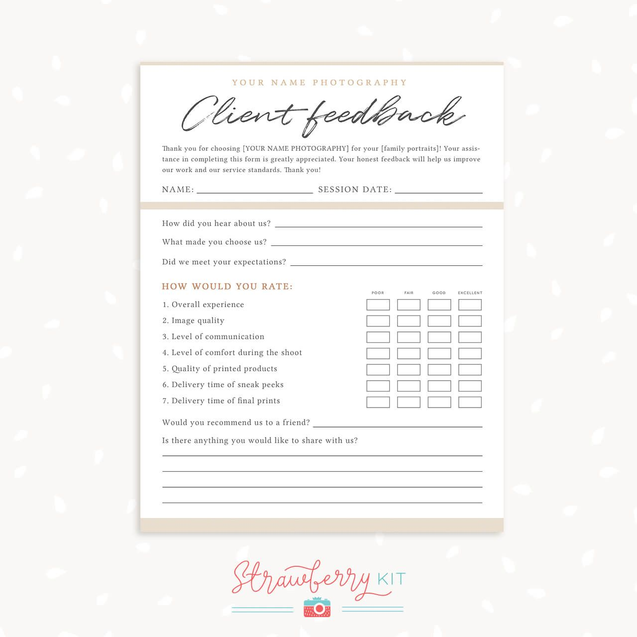Client Feedback Form Template For Photographers Survey Template Salon Business Cards Customer Satisfaction Survey Template