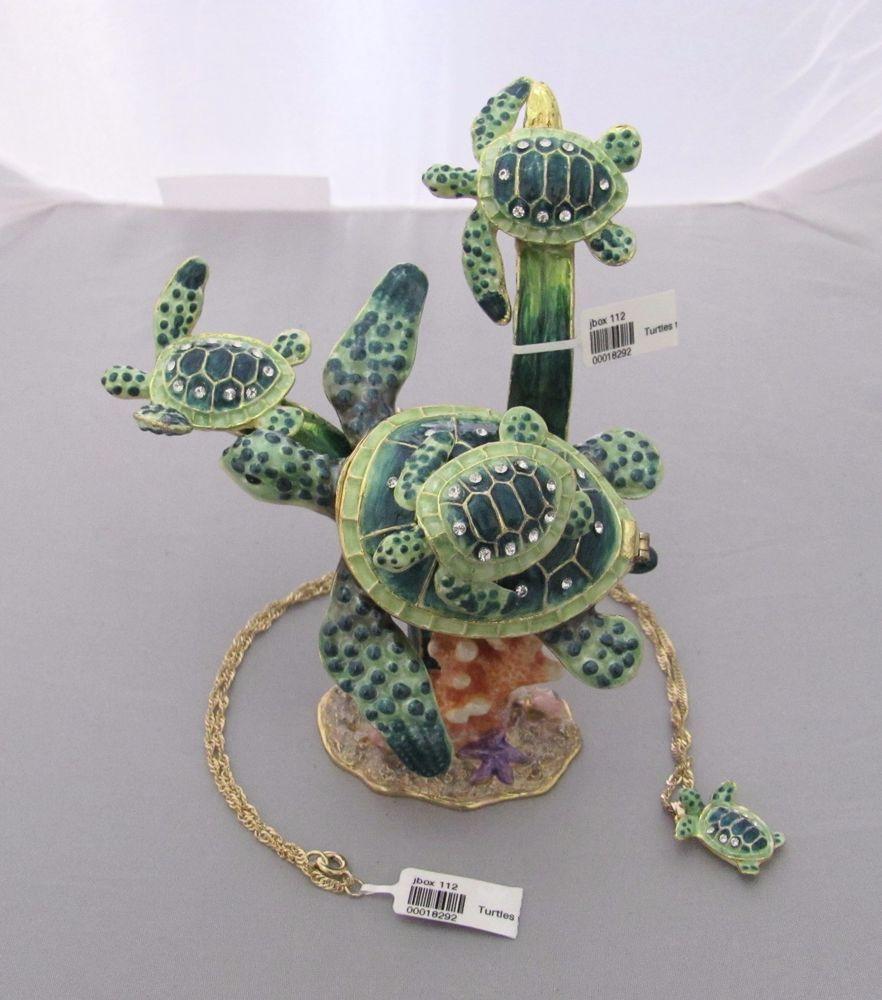 New Trinket Box Gift Swarovski Crystals Skyscraper Sea Turtle Animal Necklace