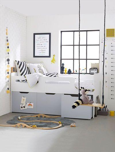combin lit enfant avec rangements ligne passe passe blanc gris lit enfant rangement et gris. Black Bedroom Furniture Sets. Home Design Ideas