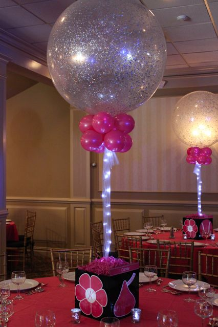 Everything girl themed photo cubes with sparkle balloons