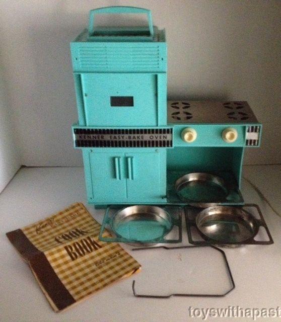 1960s Kenner EASY BAKE OVEN Aqua 3 Baking Pans Cooling Rack Recipe Book Vintage #Kenner