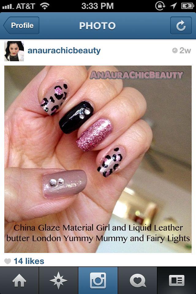 Pink, black & nude leopard nails - AnAuraChicBeauty